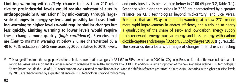 (AR5 synthesis report p82): Scenarios that are likely to maintain warming at below 2°C include more rapid improvements in energy efficiency and a tripling to nearly a quadrupling of the share of zero- and low-carbon energy supply from renewable energy, nuclear energy and fossil energy with carbon dioxide capture and storage (CCS) or BECCS by the year 2050